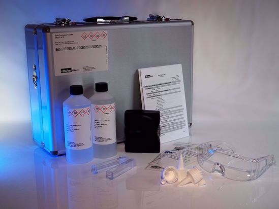 Wet-chemistry test kit to accurately measure the amount of corrosive iron in cylinder/ scrape-down oil.
